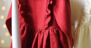 Baby Christmas Outfit, Baby Christmas Dress, Toddler Christmas Dress, Ruffled Dress, Red, Cream and Sage Green Linen