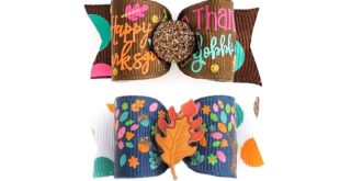 Dog Hair Bows- Thanksgiving Turkey Dog Bow Thanksgiving Sayings Glitter Dog Bows Fall Autumn Double Elastic Bands Barrette