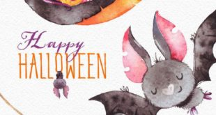 Happy Halloween. Watercolor clipart, bat, witch hat, snake, bunting banners, flag, boo, skull, spyder, greeting, invite, floral, print, kids