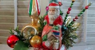 Image of Vintage Christmas Boot Planter with Santa and Lots of Cheer