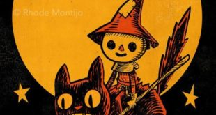 """Scarecrow on Flaming Cat 12"""" x 18"""" Signed Halloween Art Print by Rhode Montijo"""
