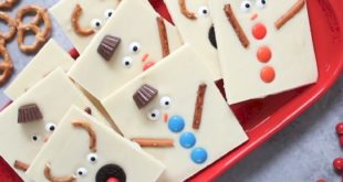 Snowman Reindeer Chocolate Bark is a delicious and festive holiday treat that wi...