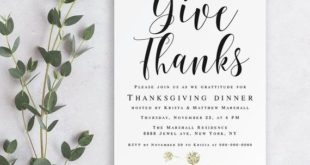 Thanksgiving invitation template Give thanks printable Thanksgiving invitation p...