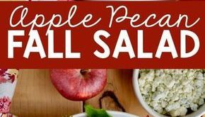 This Apple Pecan Fall Salad is perfect for autumn, topped with a honey mustard d...