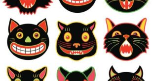 Vector illustrations of a various Halloween black cats.